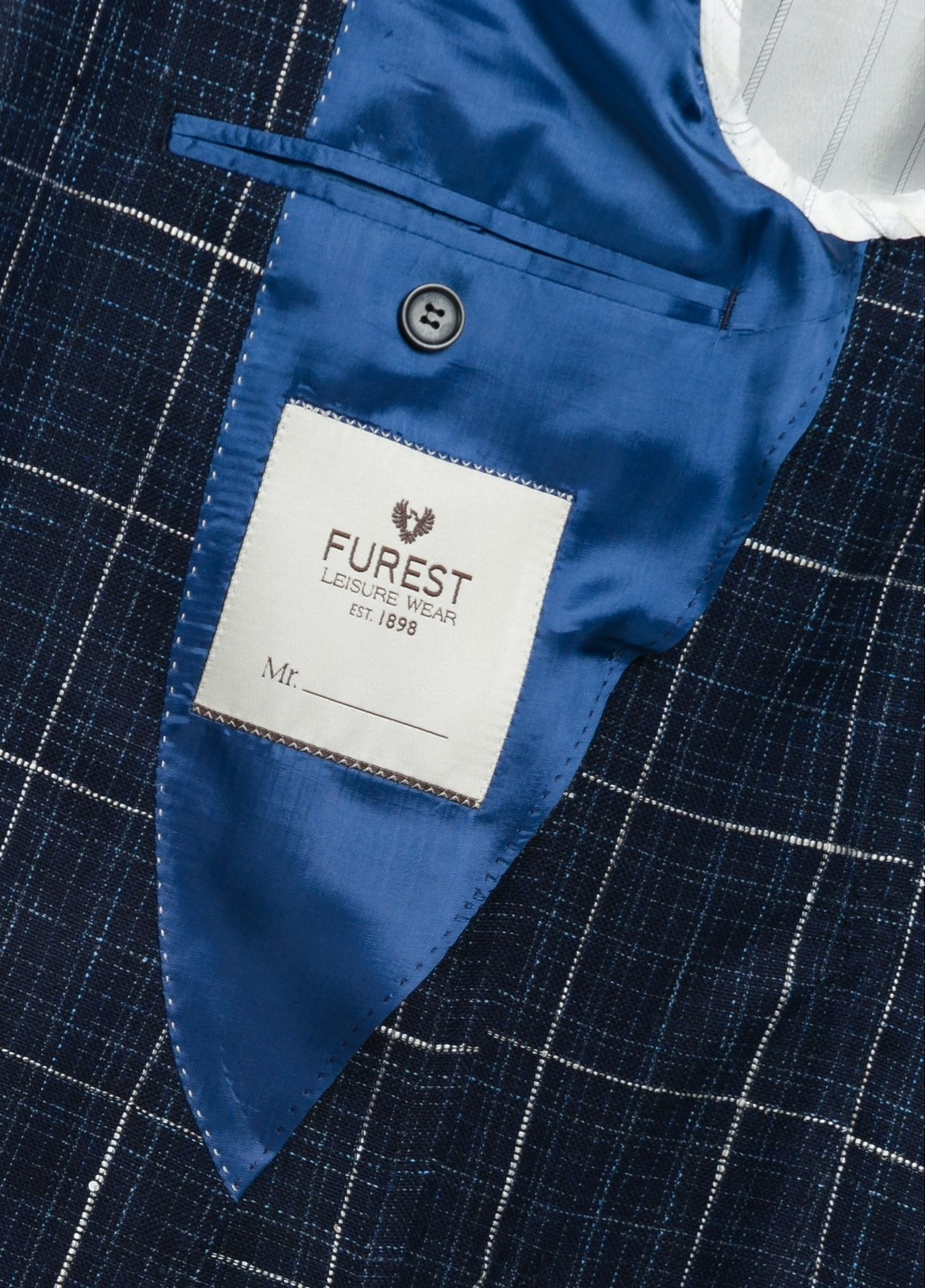 Americana SOFT JACKET Slim Fit con diseño cuadro ventana color azul, 90% Viscosa 5% Lino 5% Algodón. - Ítem3