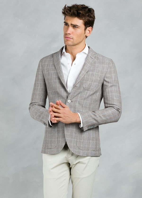 Americana SOFT JACKET Slim Fit con diseño cuadro gales color tostado, 55% Lino 45% Viscosa.