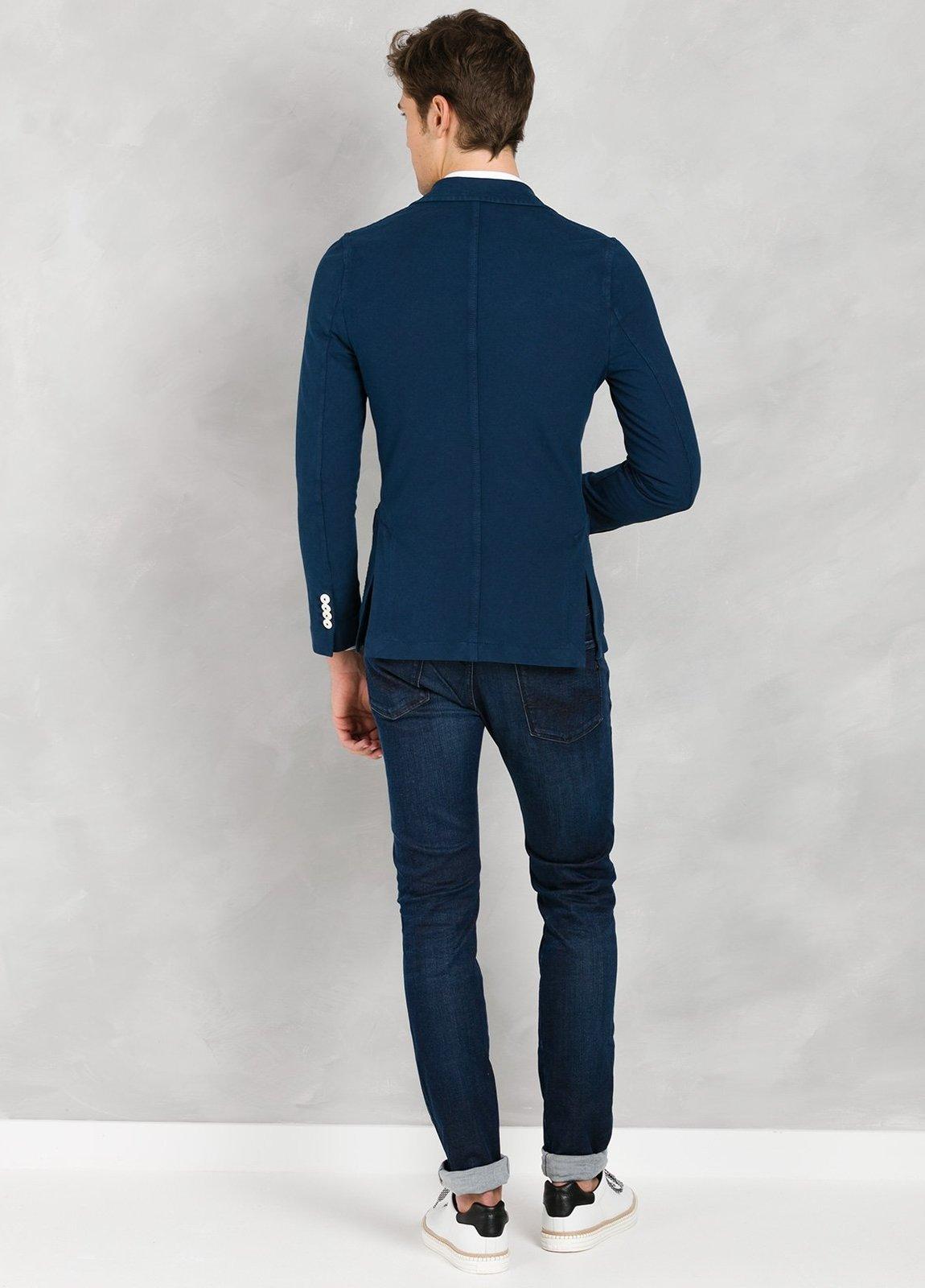 Americana soft 2 botones SLIM FIT color azul oscuro efecto denim, 95% Algodón 5% Elastán. - Ítem2