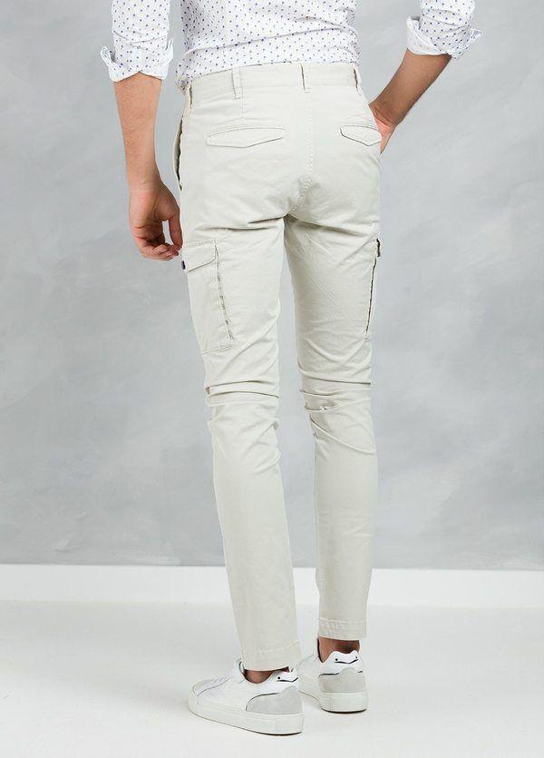 Pantalón Sport SLIM FIT modelo TONY con bolsillos laterales color beige, 97% Algodón 3% Elastán. - Ítem2