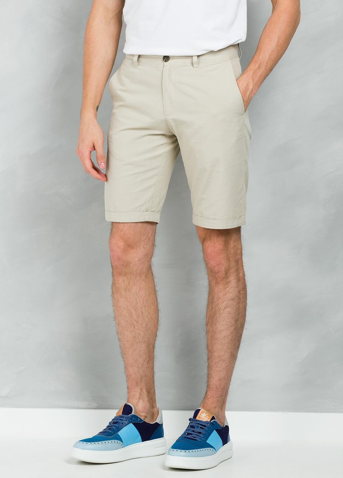 Short Furest Casual Wear color beige, 100% Algodón.