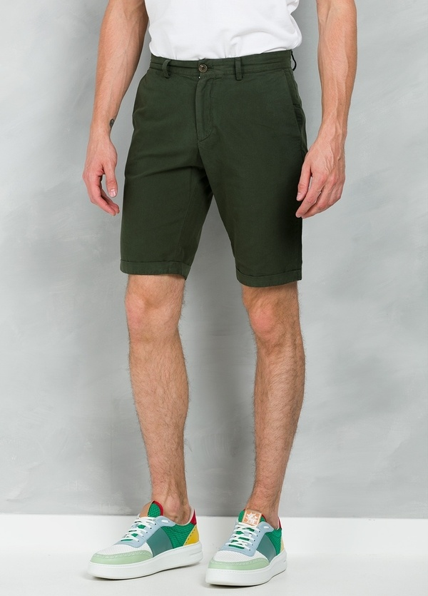 Short Furest Casual Wear color kaki, 100% Algodón.
