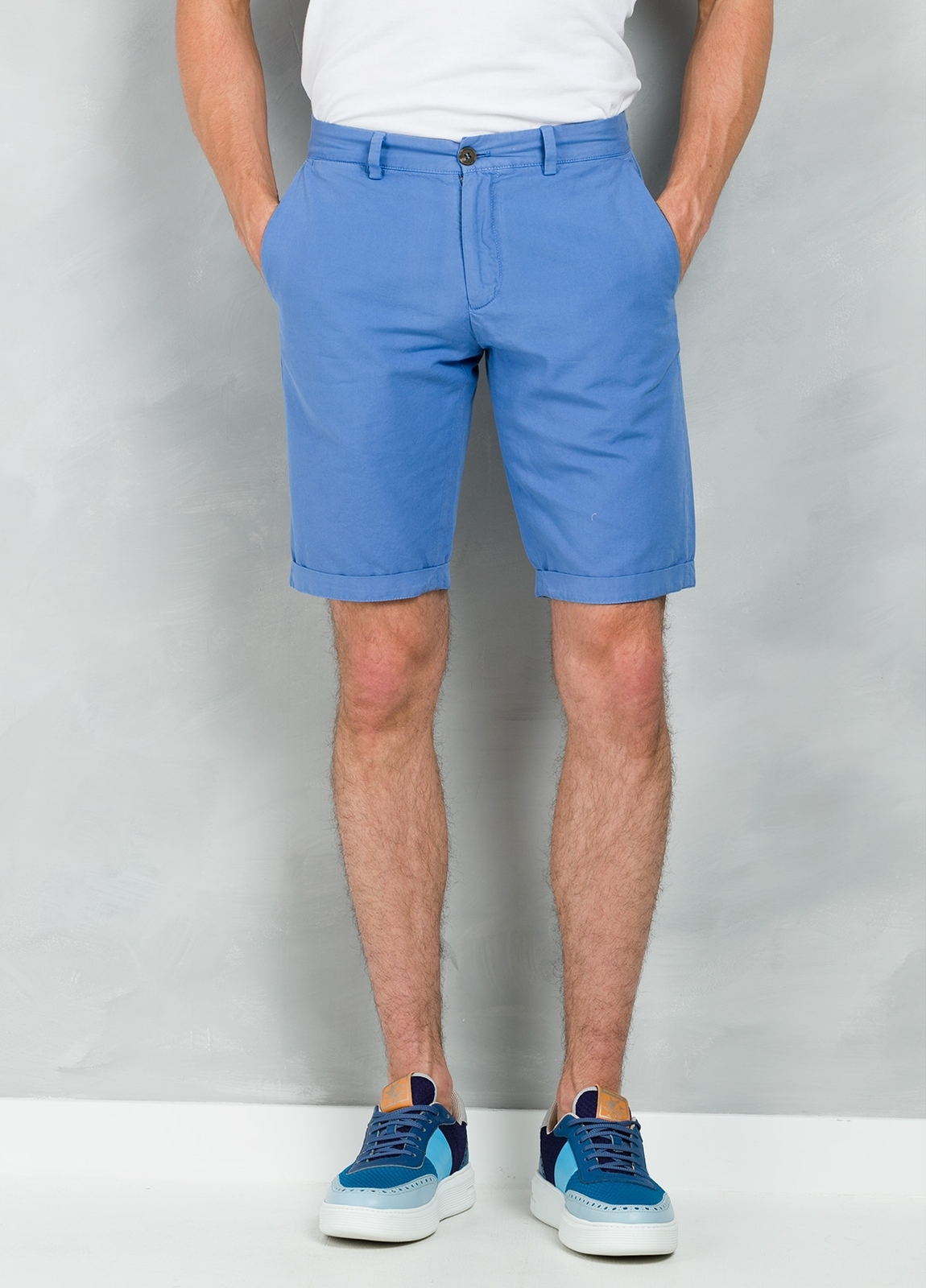 Short Furest Casual Wear color azul, 100% Algodón.