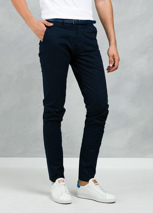 Pantalón chino color azul marino, Algodón.