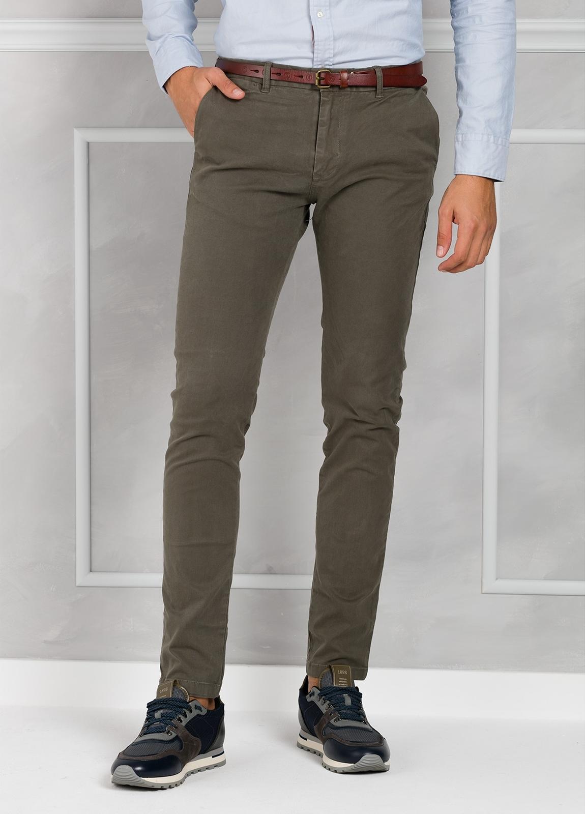 Pantalón chino color gris, Algodón.