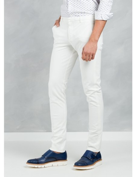 Pantalón chino SLIM FIT color crudo, algodón piquet. - Ítem3