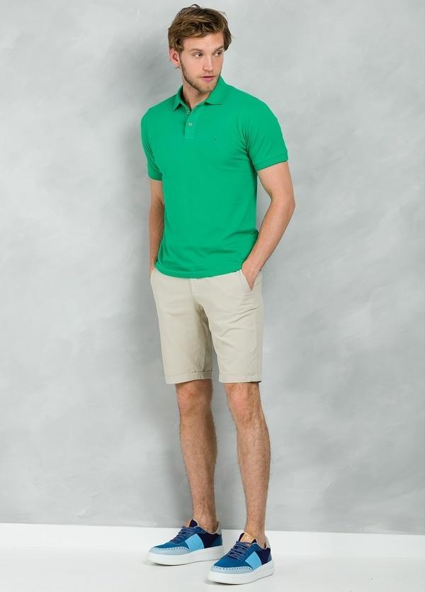 Washed Cotton-Pique Polo Shirt color verde, 100% Algodón.