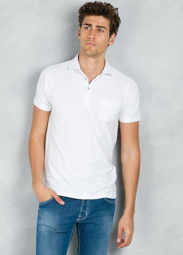 Polo liso manga corta con bolsillo en pecho, color blanco, 95% Algodón 5% Elastán.