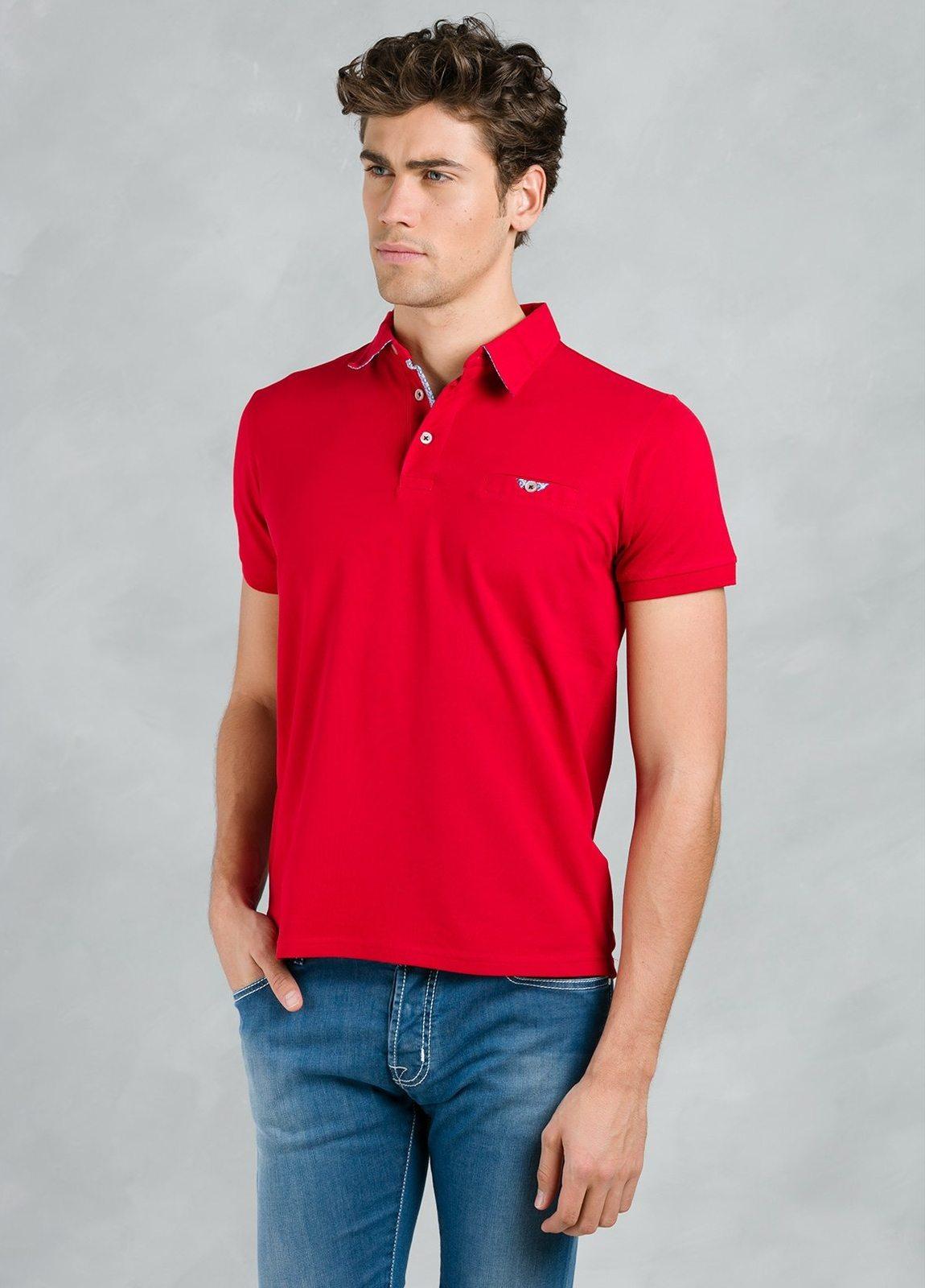 Polo manga corta piquet con bolsillo de ojal, color rojo, 95% Algodón 5% Elastán.
