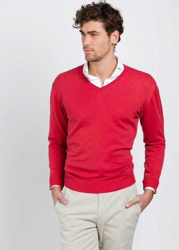 Jersey cuello pico color rojo, 100% Algodón.