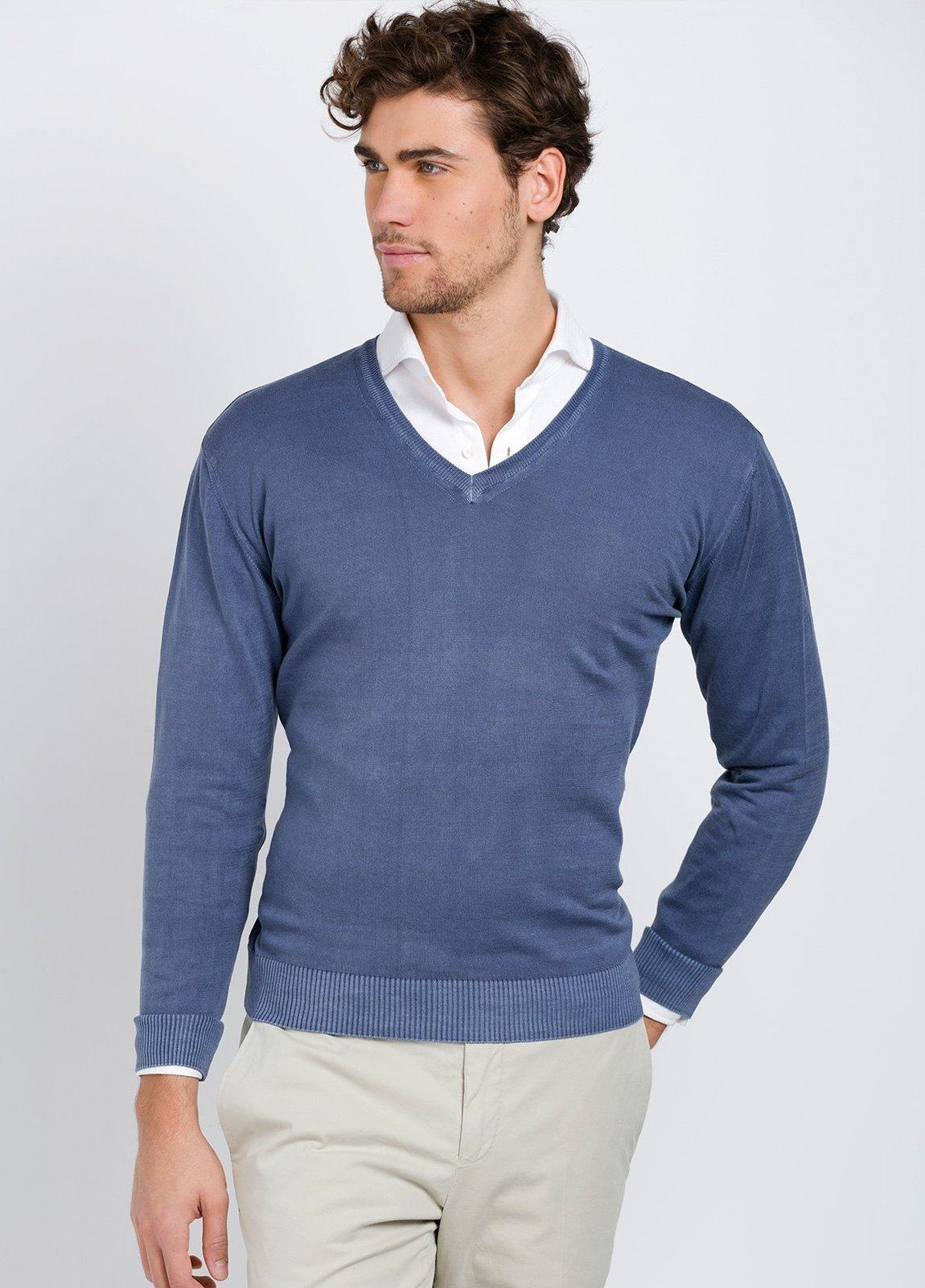 Jersey cuello pico color azul, 100% Algodón. - Ítem2