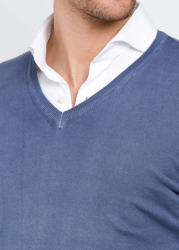 Jersey cuello pico color azul, 100% Algodón. - Ítem1