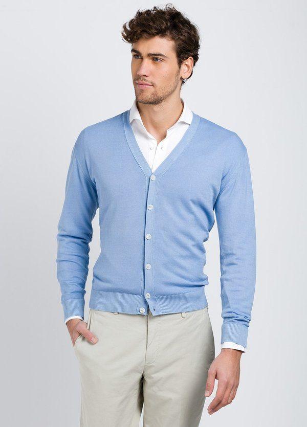 Cardigan con botones color celeste, 100% Algodón.