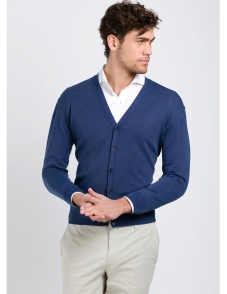 Cardigan con botones color azul marino, 100% Algodón.