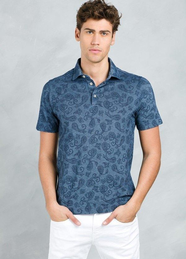 Polo manga corta estampado floral color azul, 100% Algodón,