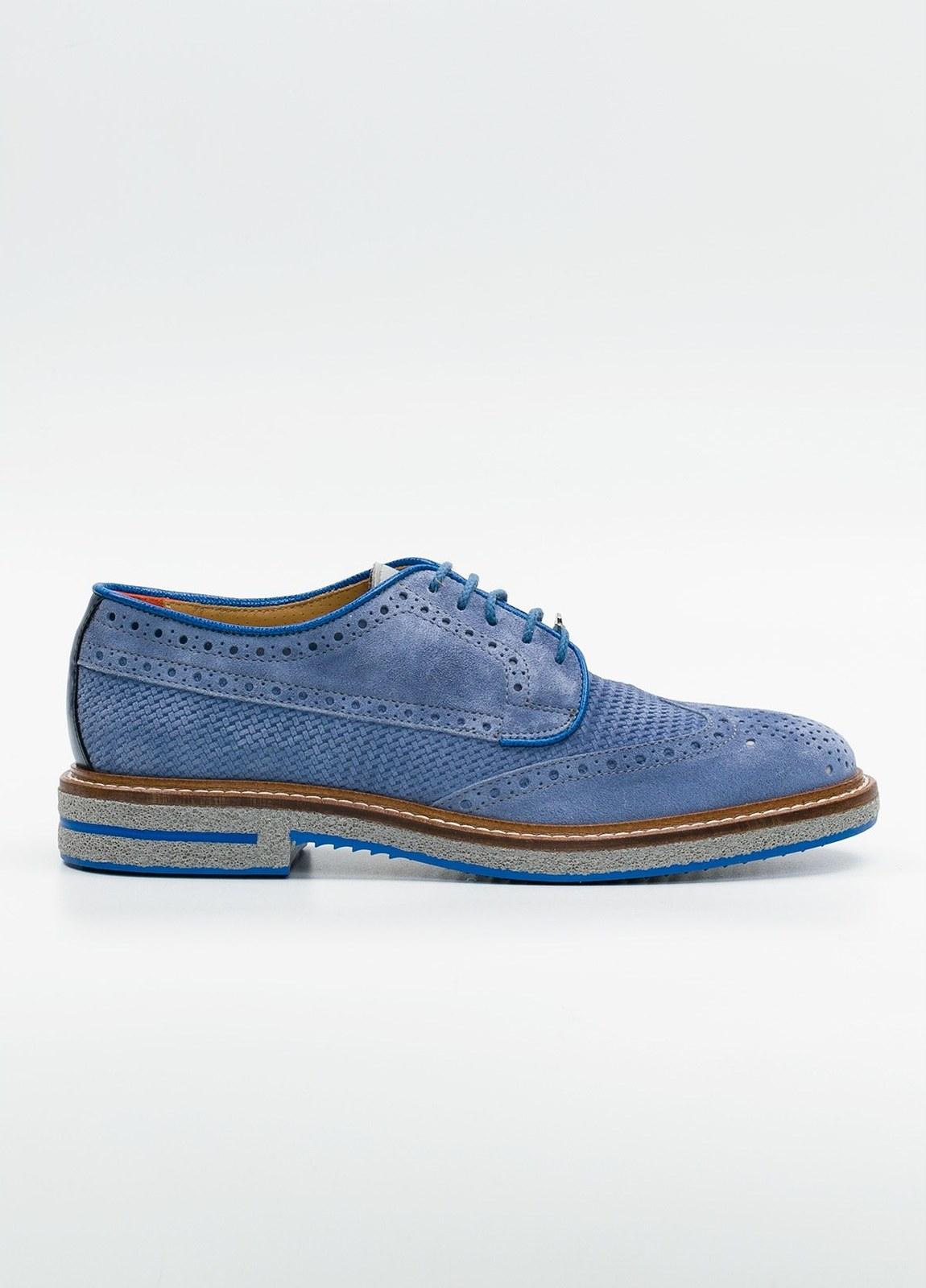 Zapato Formal Wear color azul suela gris, 100% Ante.