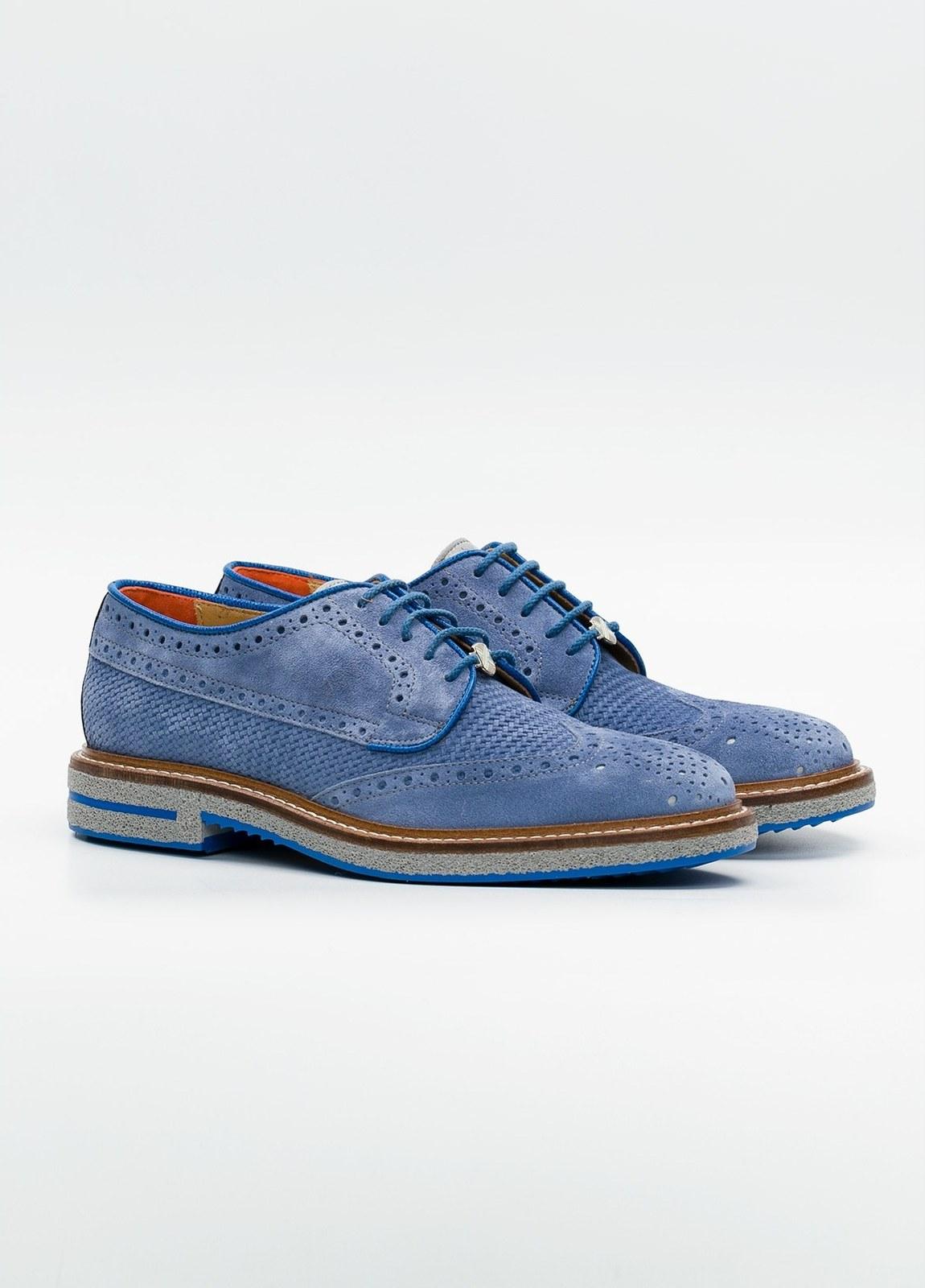 Zapato Formal Wear color azul suela gris, 100% Ante. - Ítem3