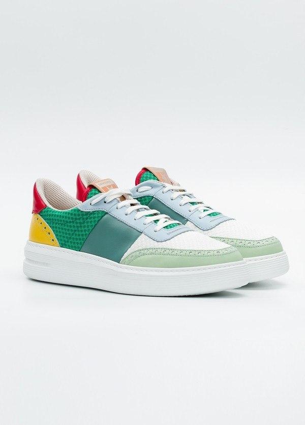 Calzado Sport color blanco y verde, combinación de piel y malla. - Ítem2