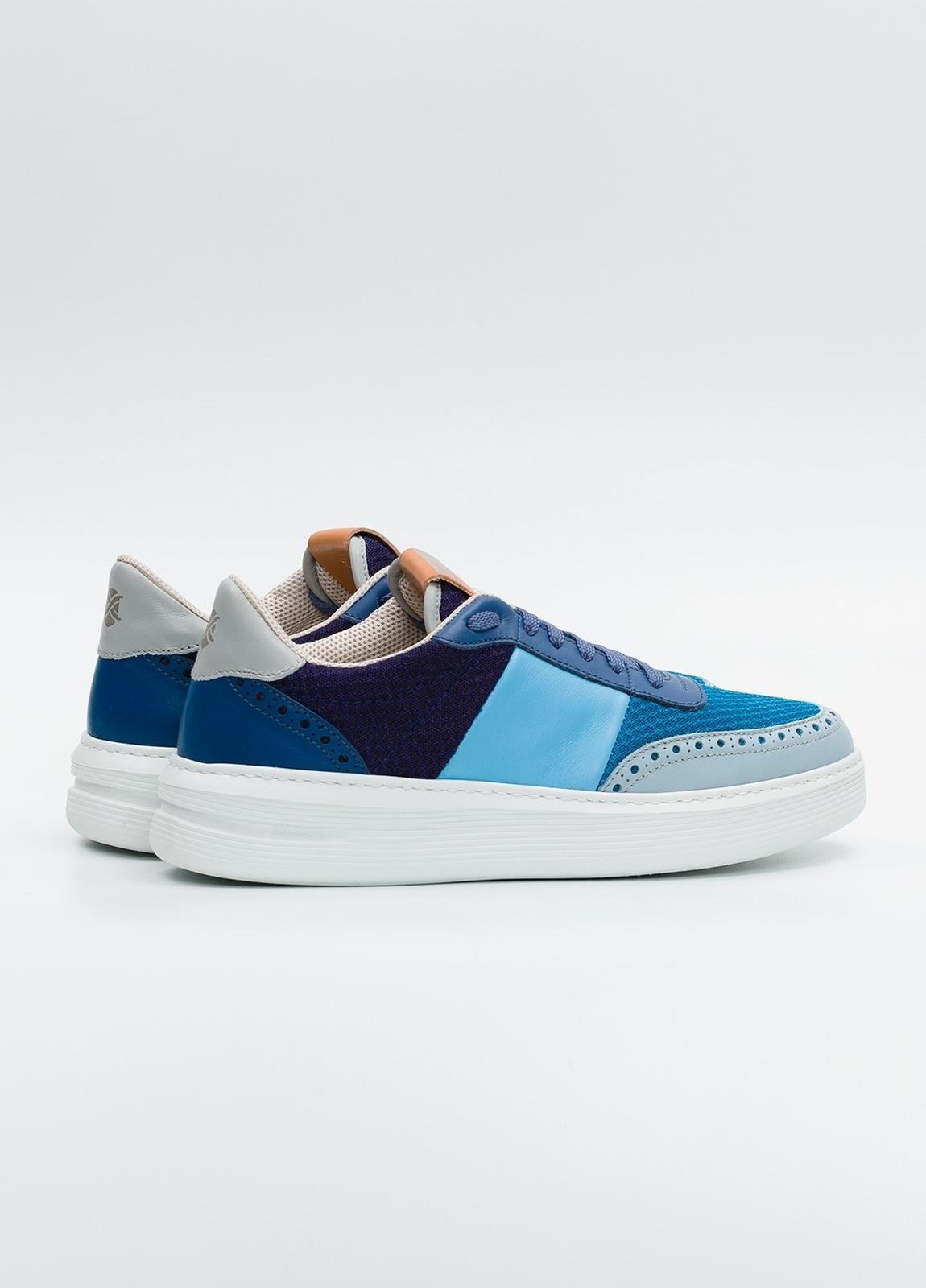 Calzado Sport color azul y marino, combinación de piel y malla. - Ítem3