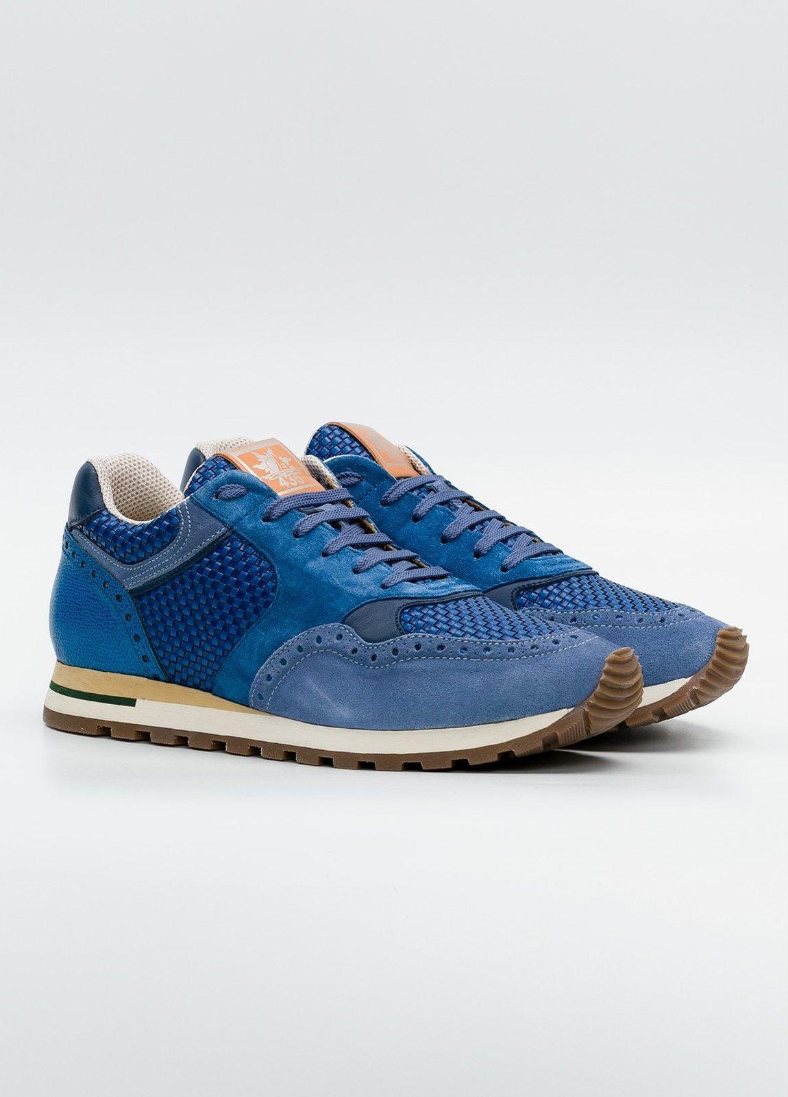 Calzado Sport color azul, serraje y piel. - Ítem2