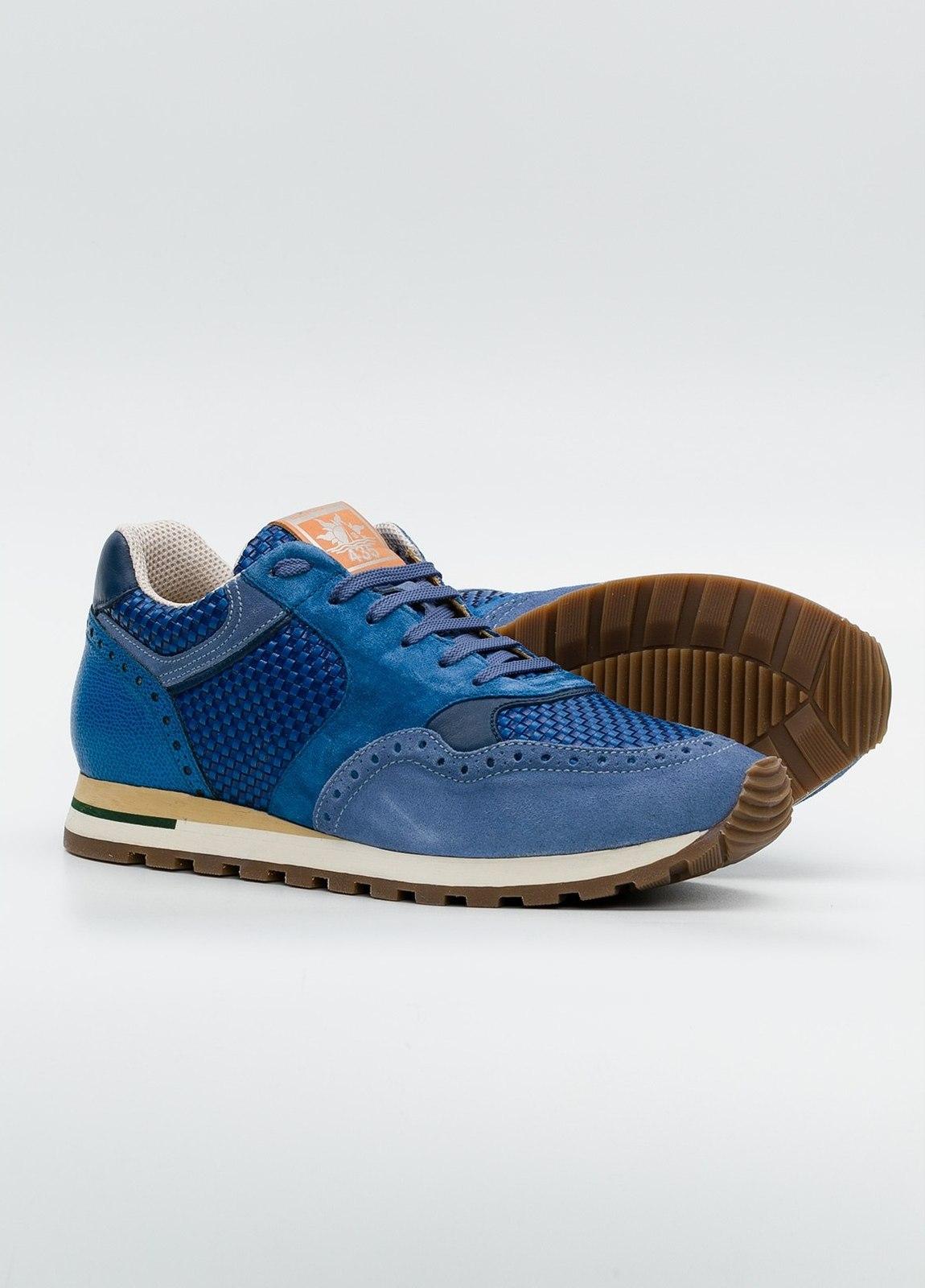 Calzado Sport color azul, serraje y piel. - Ítem1