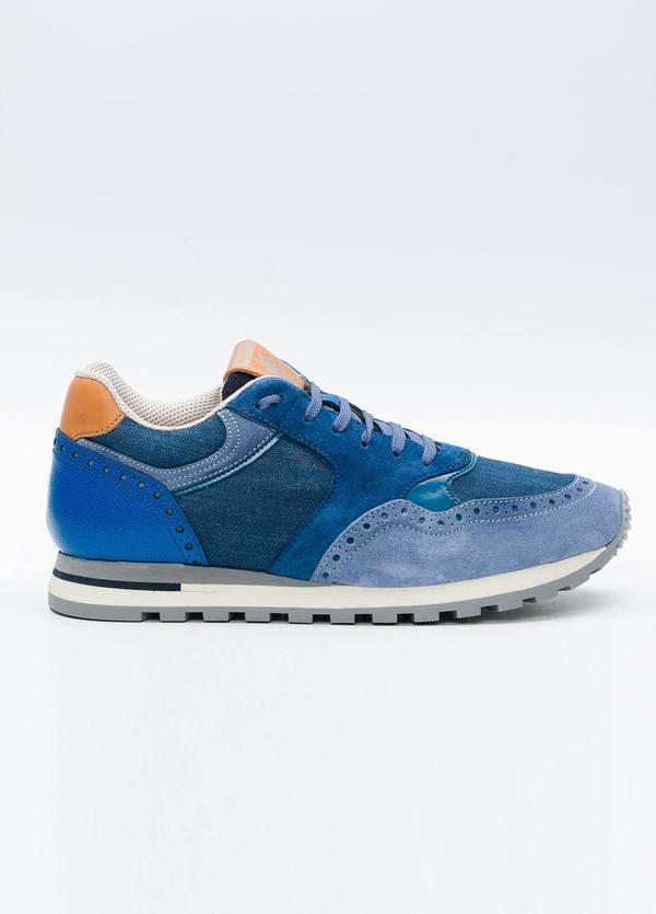Calzado Sport color azul medio, serraje, piel y algodón.