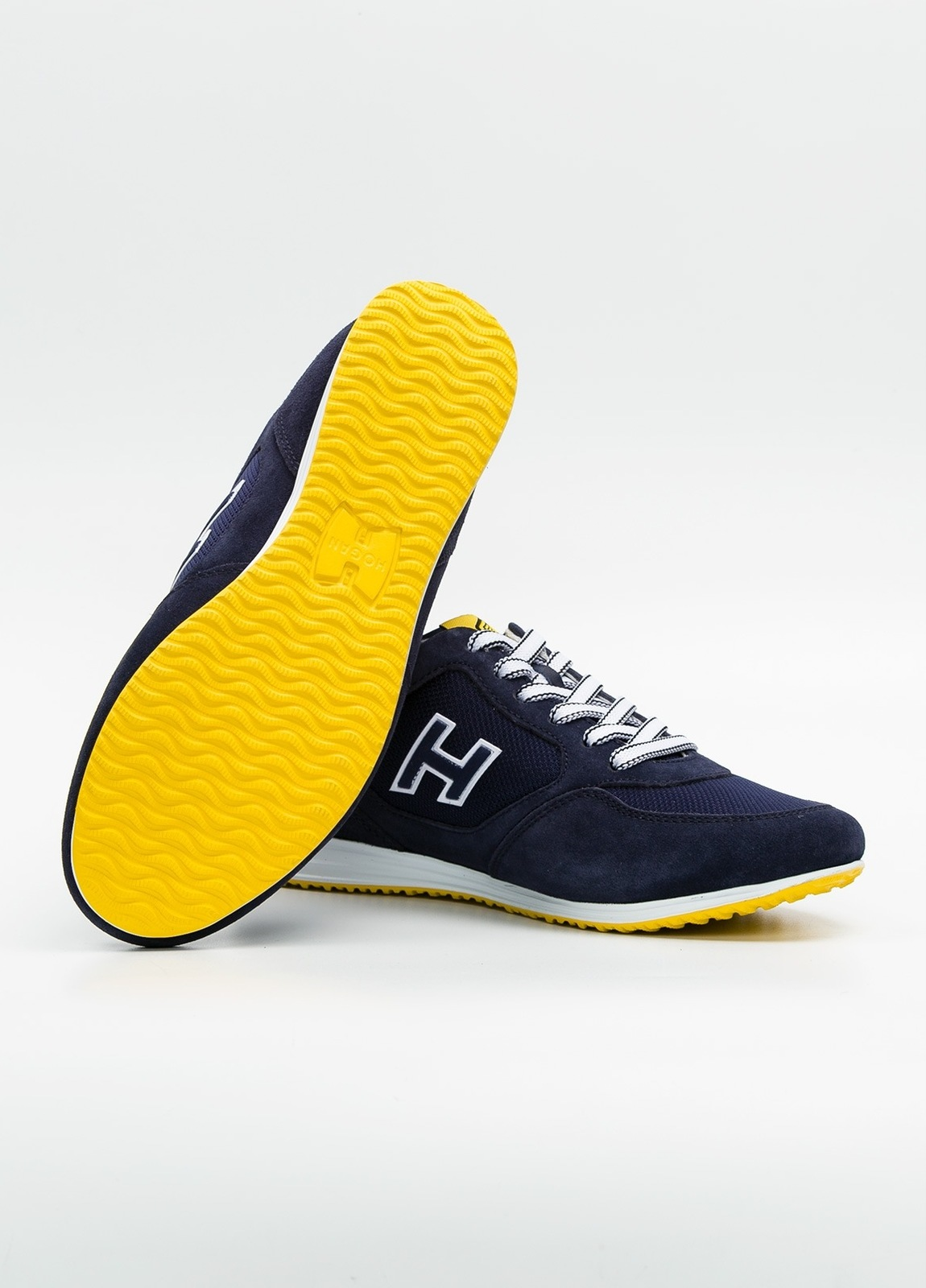 Calzado sport OLYMPIA color marino, combinación de serraje, loneta y apliques en piel. - Ítem3