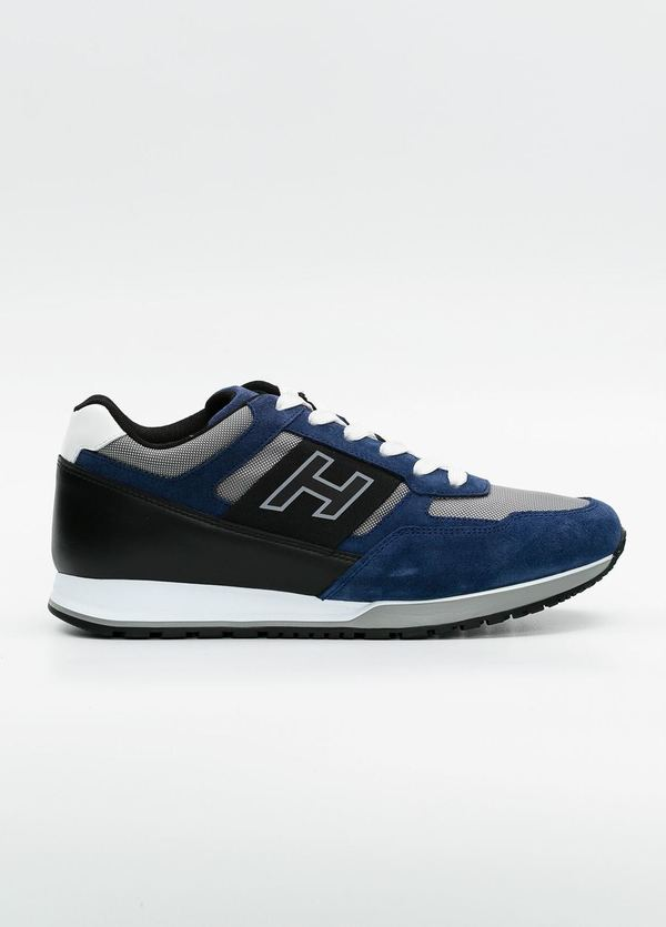 Calzado sport OLYMPIA color azul, combinación de serraje, loneta y apliques en piel.