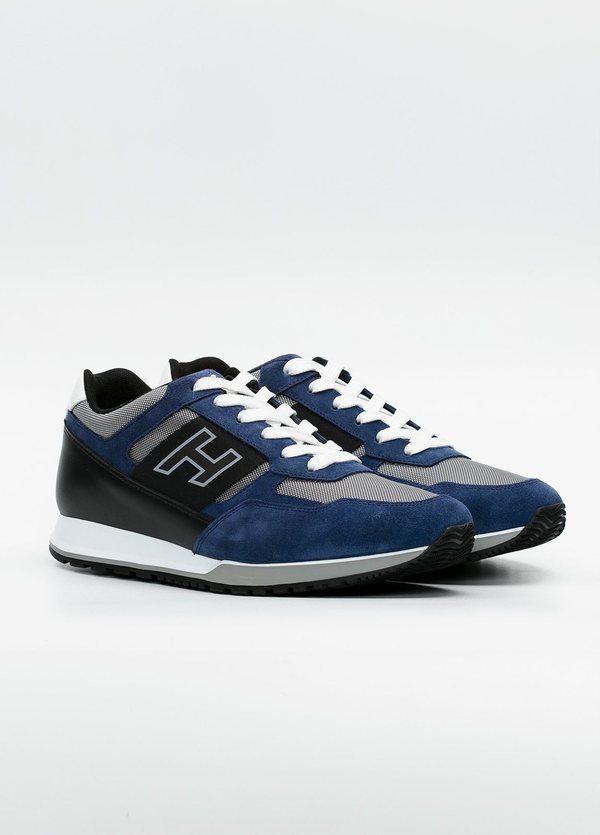 Calzado sport OLYMPIA color azul, combinación de serraje, loneta y apliques en piel. - Ítem1