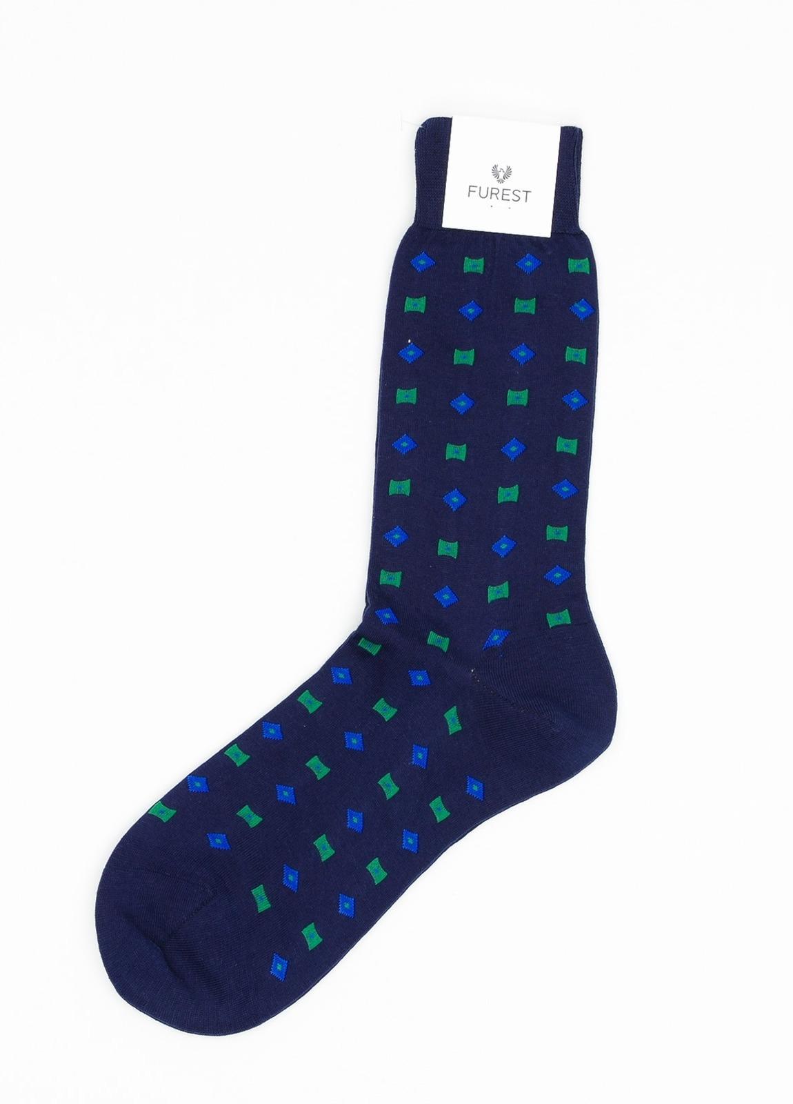 Calcetín corto, estampado fantasía color azul, 100% algodón.