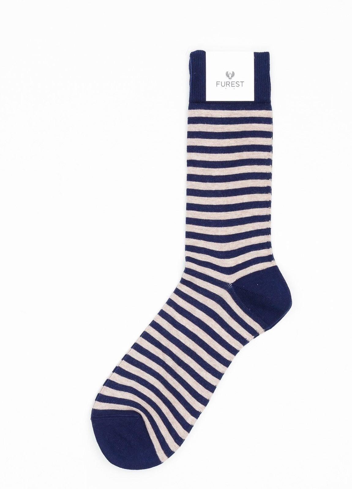 Calcetín corto, estampado a rayas color azul, 100% algodón.