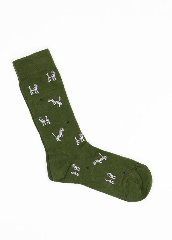 Calcetín de algodón estampado fantasía, color verde. - Ítem1