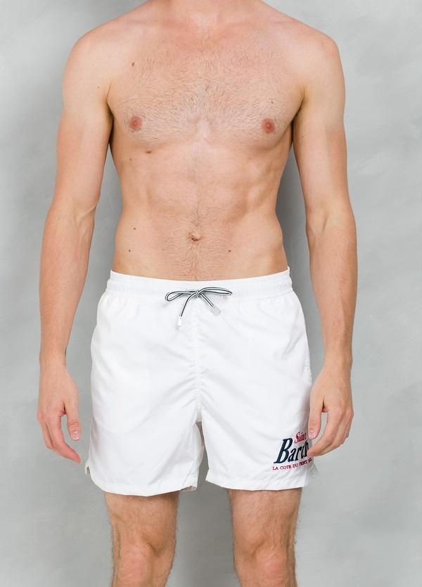 Bañador liso modelo OWNER color blanco, microfibra.