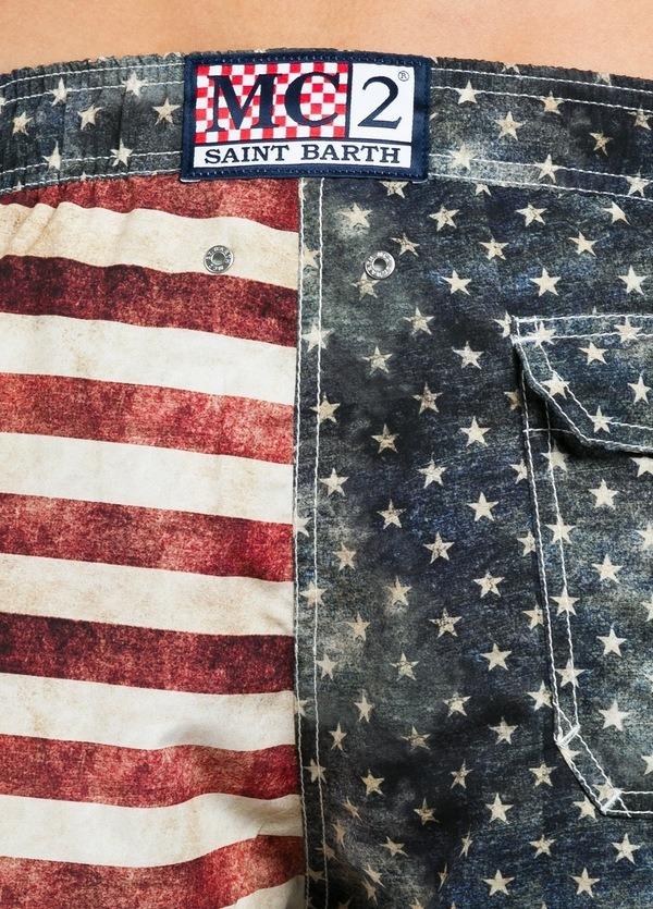 Bañador estampado bandera americana modelo GUSTAVIA color azul, microfibra. - Ítem1