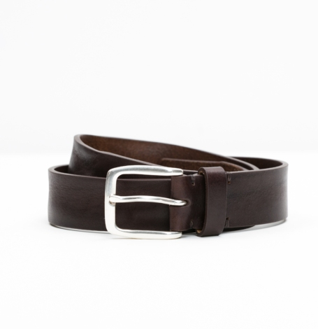 Cinturón Sport piel lisa color marrón oscuro, 100% piel