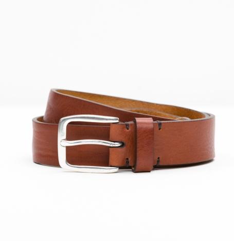 Cinturón Sport piel lisa color Cognac, 100% Piel