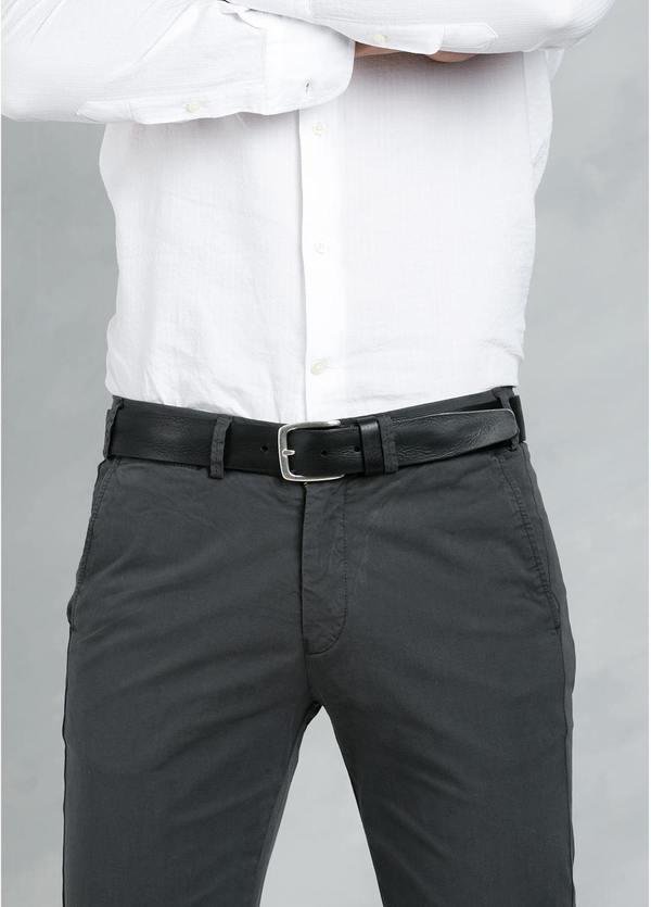 Cinturón Sport piel lisa color negro, 100% piel - Ítem1