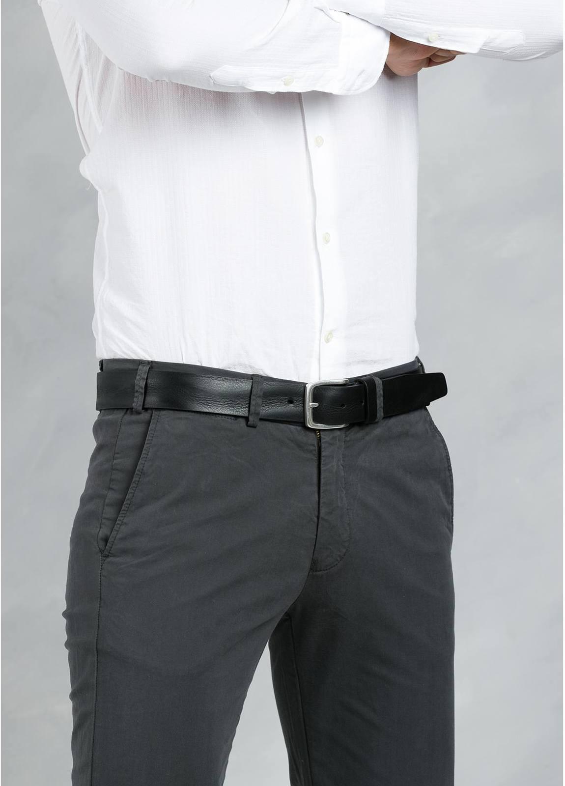 Cinturón Sport piel lisa color negro, 100% piel - Ítem2