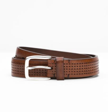 Cinturón Sport piel perforada color marrón, 100% Piel.