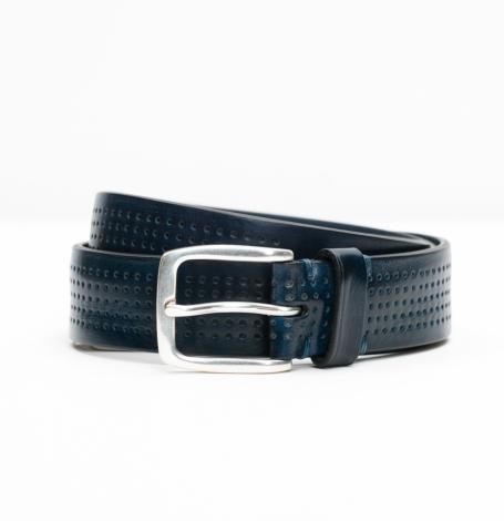 Cinturón Sport piel perforada color marino, 100% Piel.