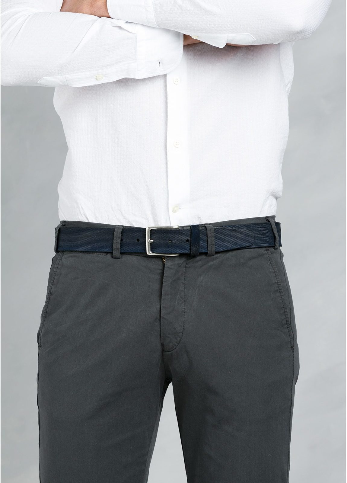 Cinturón Sport piel grabada color azul marino, 100% Piel. - Ítem2