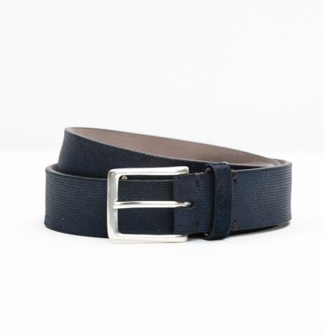 Cinturón Sport piel grabada color azul marino, 100% Piel.