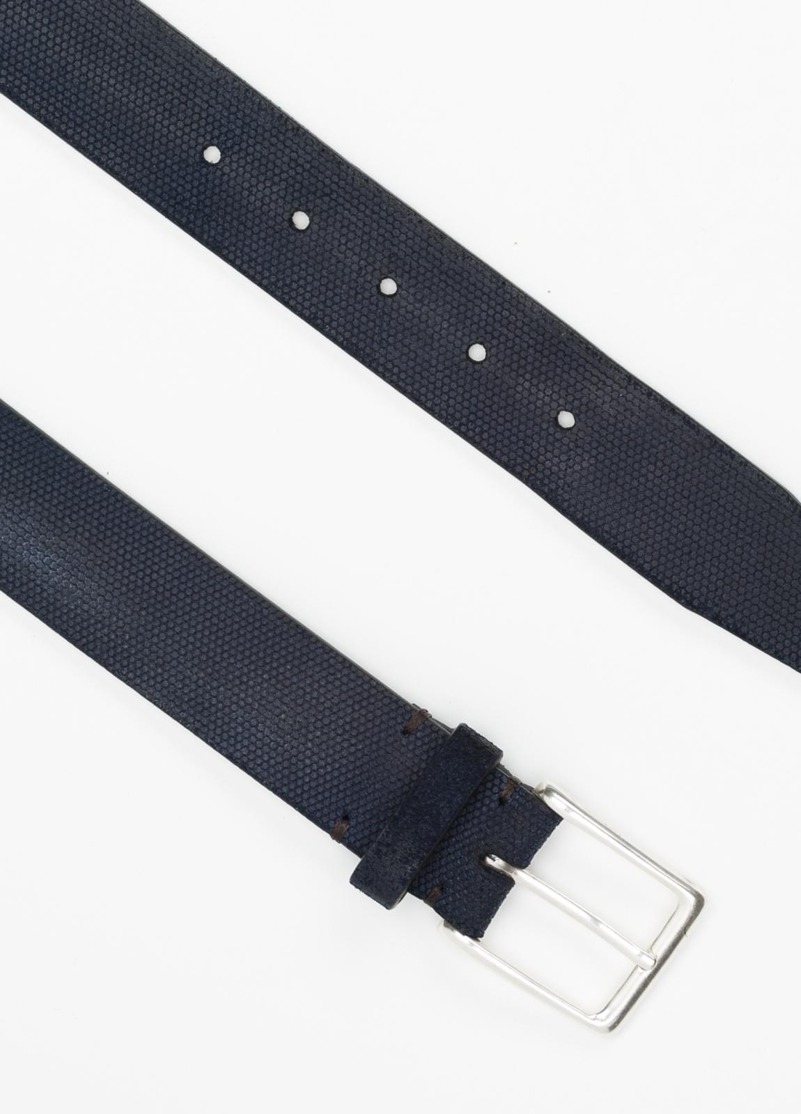 Cinturón Sport piel grabada color azul marino, 100% Piel. - Ítem3