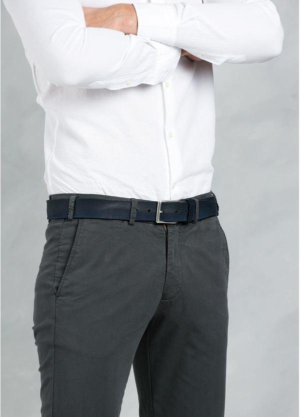 Cinturón Sport piel grabada color azul marino, 100% Piel. - Ítem1