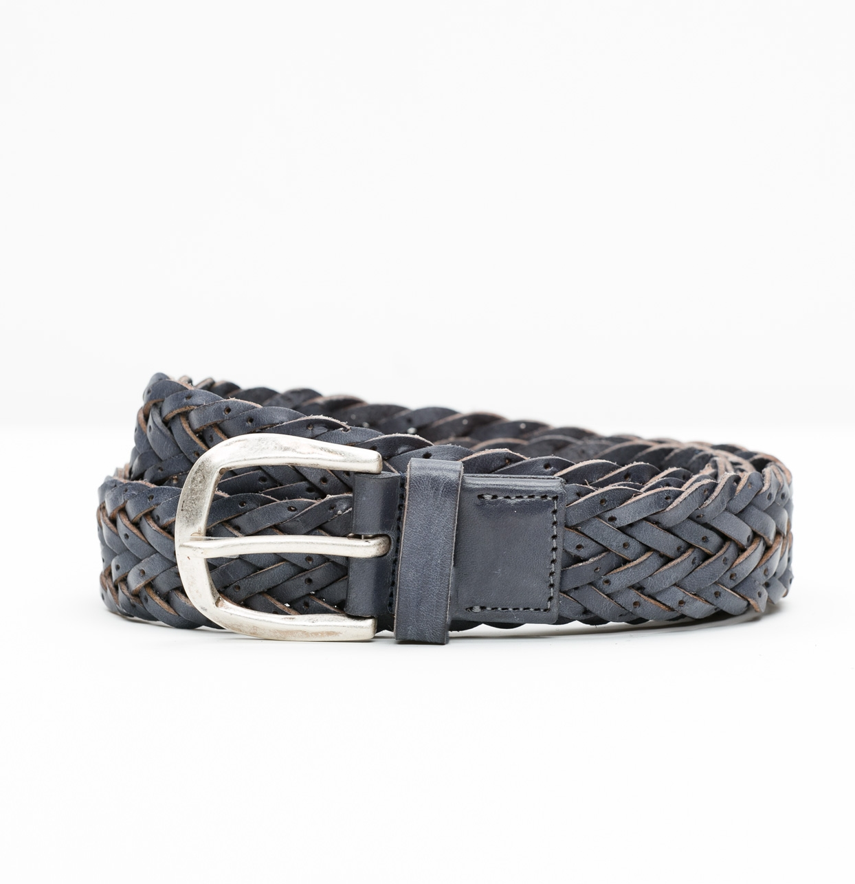Cinturón Sport piel trenzada color gris, 100% piel.