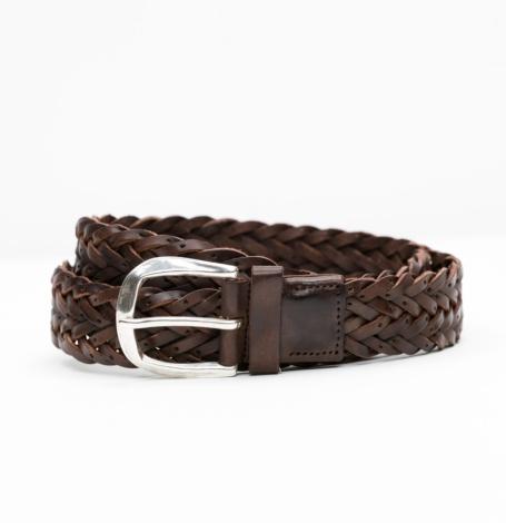 Cinturón Sport piel trenzada color marrón, 100% piel.