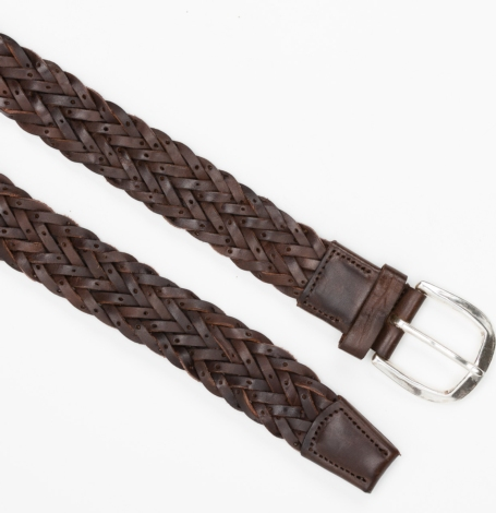 Cinturón Sport piel trenzada color marrón, 100% piel. - Ítem1