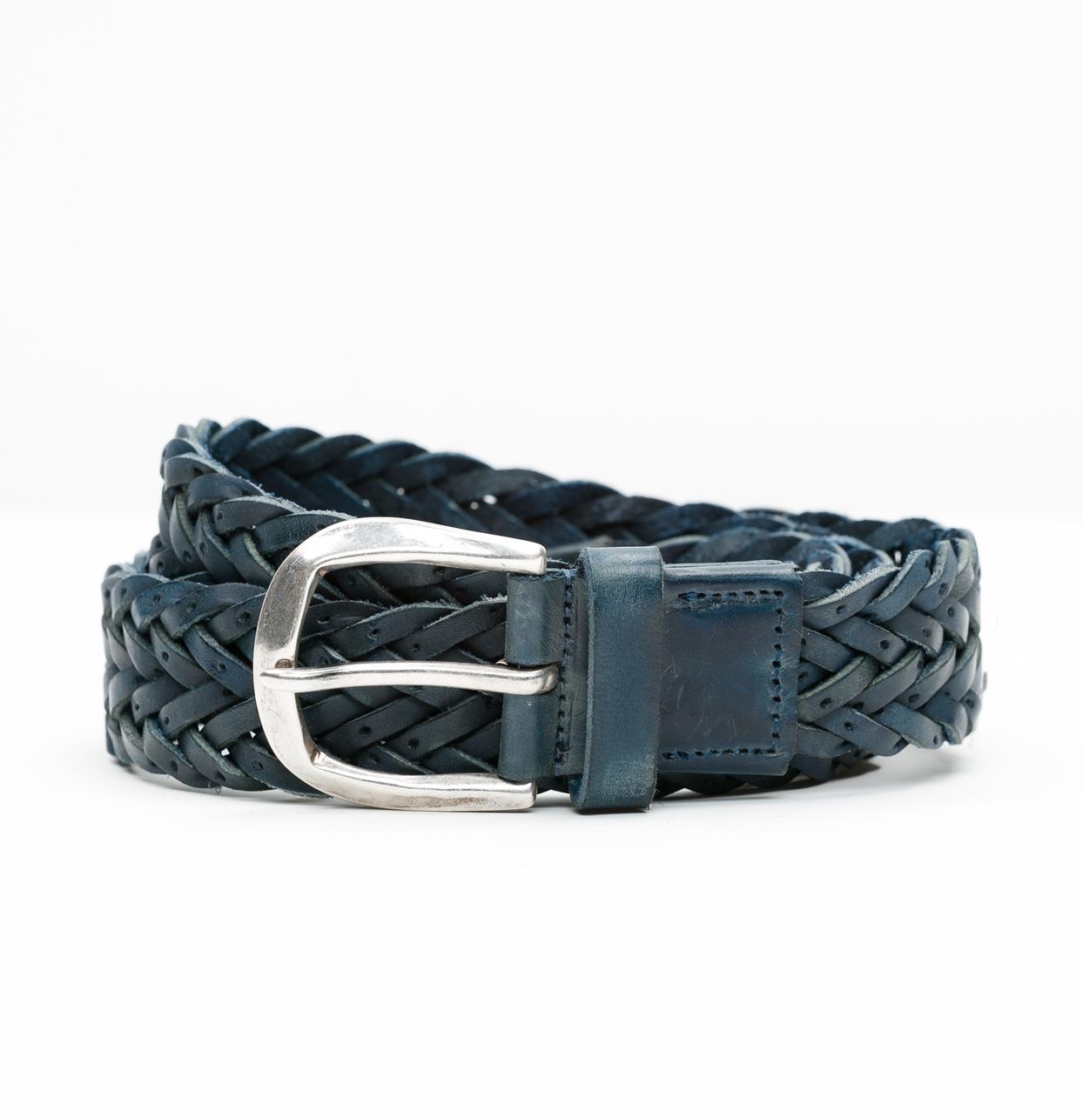 Cinturón Sport piel trenzada color azul, 100% piel.