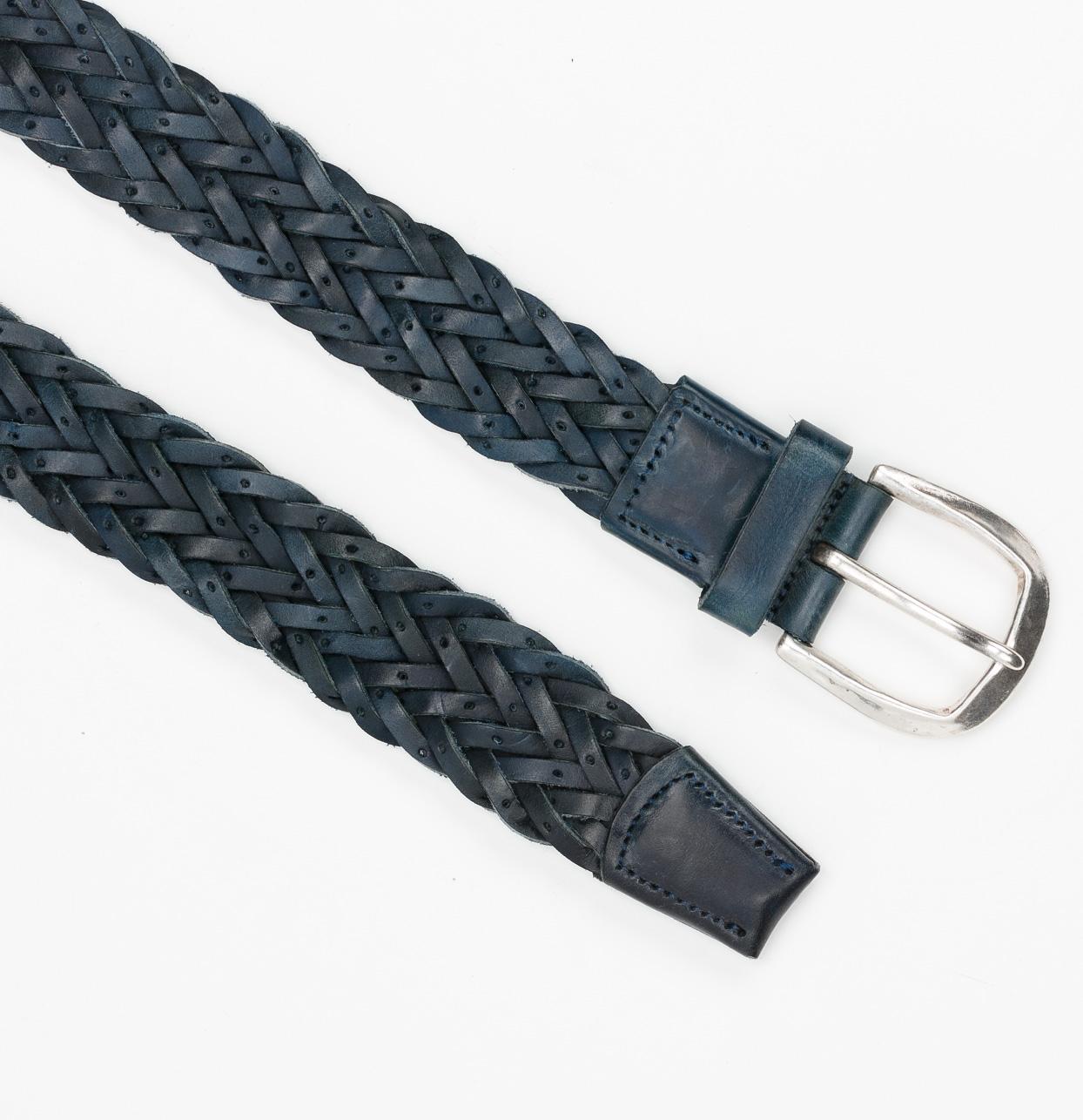 Cinturón Sport piel trenzada color azul, 100% piel. - Ítem1