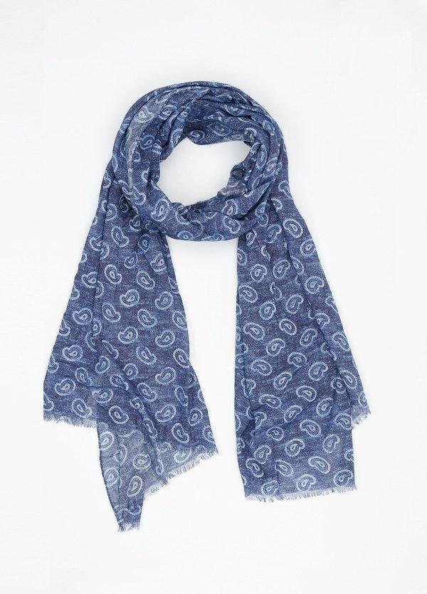 Foulard estampado cashmere color azul,70 x 200 cm. 100% algodón